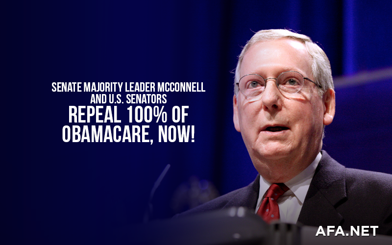 U.S. Senators, repeal 100% of Obamacare, now!