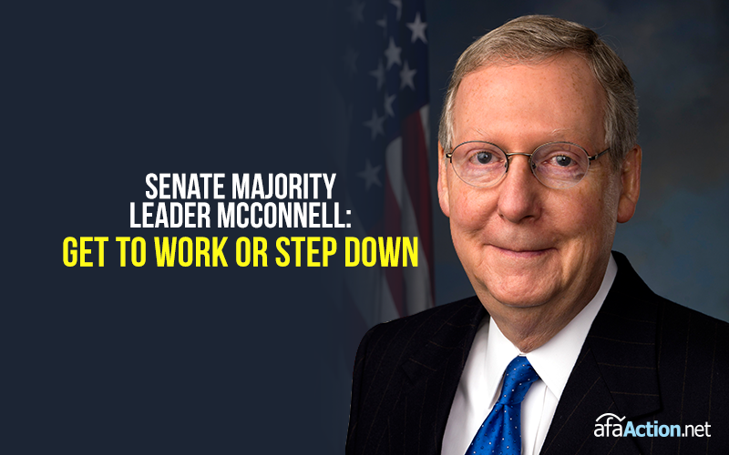 "Tell Sen. McConnell to ""get to work"" or ""step down."""