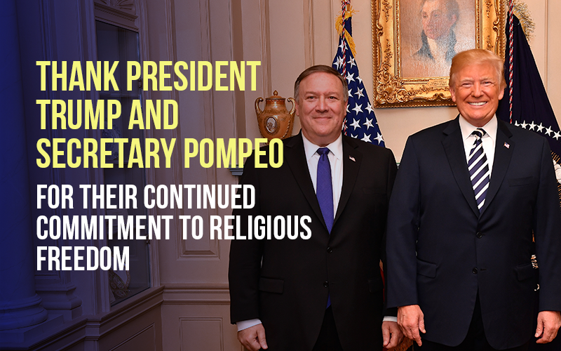 Thank Trump for his stand on religious freedom