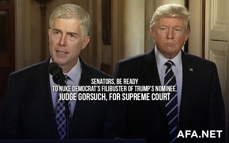 Tell Senators to 'nuke' Democrat filibuster of Judge Gorsuch