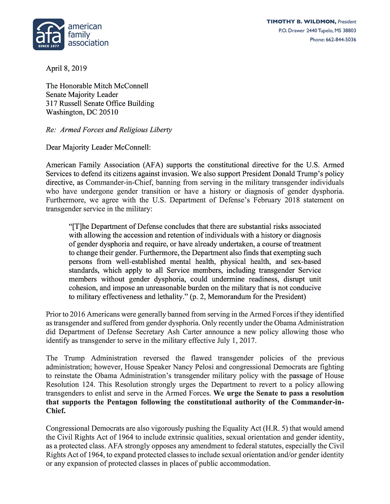 AFA net - Letter to Majority Leader McConnell on Equality